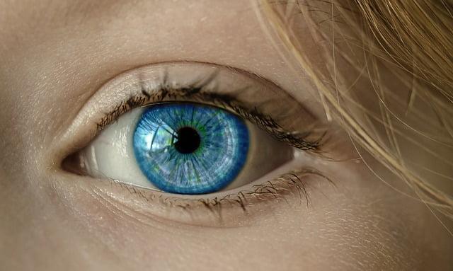 Close up on a female blue eye