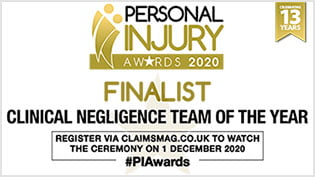 Devonshires Claims - Finalist for 'Clinical Negligence Team of the Year' at the Personal Injury Awards 2020