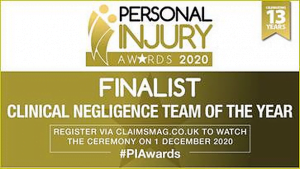 Devonshires Claims - Finalist for 'Clinical Negligence Team of the Year' at the Personal Injury Awards 2020.