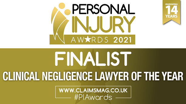 Devonshires Claims - Finalist for 'Clinical Negligence Lawyer of the Year' at the Personal Injury Awards 2021.