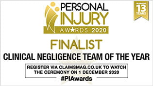Devonshires Claims Clinical Negligence Lawyer Finalist 2020